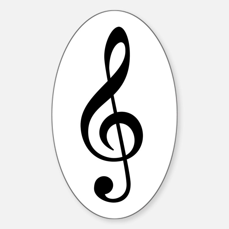 G Clef / Treble Clef Symbol Sticker (Oval)