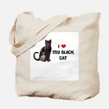 I Love Heart My Black Cat Tote Bag