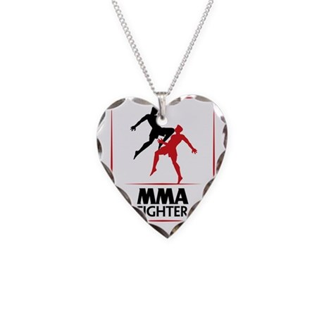 MMA Fighter Necklace Heart Charm