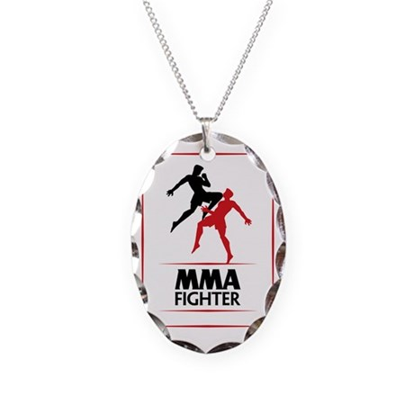 MMA Fighter Necklace Oval Charm