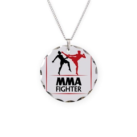 mma fighter necklace circle charm by mma 02