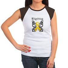Butterfly Childhood Cancer Women's Cap Sleeve T-Sh