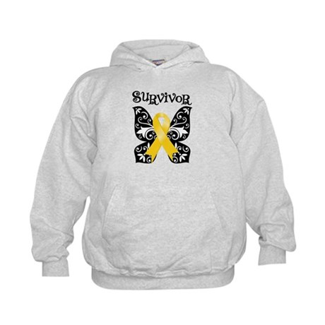 Butterfly Childhood Cancer Kids Hoodie