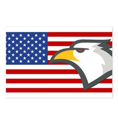 Eagle on American Flag Postcards (Package of 8)