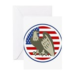 Eagle on American Flag Greeting Card