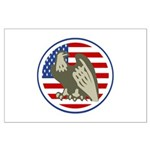 Eagle on American Flag Large Poster