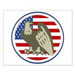 Eagle on American Flag Small Poster