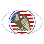 Eagle on American Flag Sticker (Oval 10 pk)