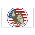 Eagle on American Flag Sticker (Rectangle)