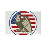 Eagle on American Flag Rectangle Magnet