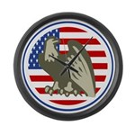 Eagle on American Flag Large Wall Clock