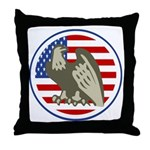 Eagle on American Flag Throw Pillow