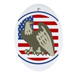 Eagle on American Flag Ornament (Oval)
