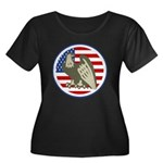 Eagle on American Flag Women's Plus Size Scoop Nec