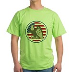 Eagle on American Flag Green T-Shirt