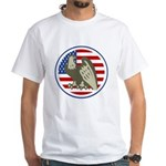 Eagle on American Flag White T-Shirt
