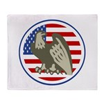 Eagle on American Flag Throw Blanket