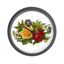 Victorian Flowers Wall Clock