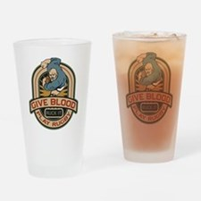 Give Blood Play Rugby Drinking Glass