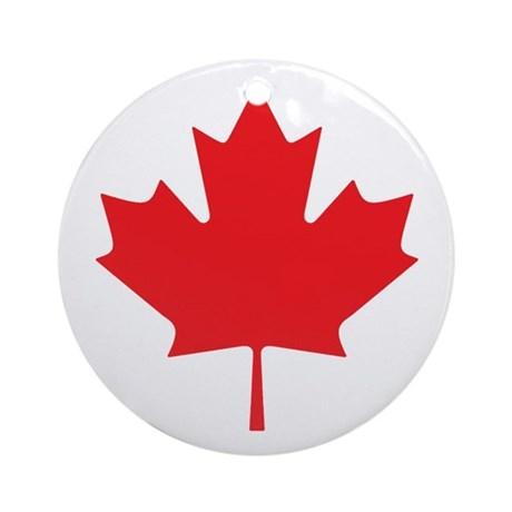 Canadian Maple Leaf Ornament (Round)