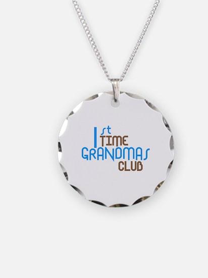 1st Time Grandmas Club (Blue) Necklace Circle Char