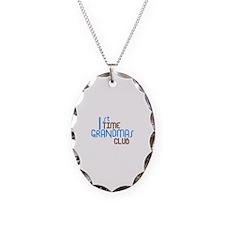 1st Time Grandmas Club (Blue) Necklace Oval Charm