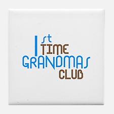 1st Time Grandmas Club (Blue) Tile Coaster