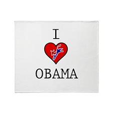 I Love Obama Throw Blanket