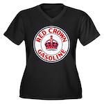 Red Crown Gasoline Women's Plus Size V-Neck Dark T