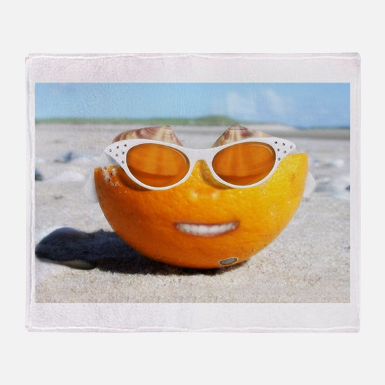 Beached Orange fun in the sun Throw Blanket