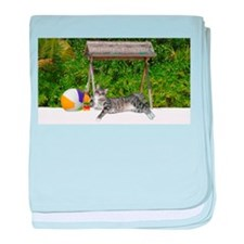 Cat on the Beach baby blanket