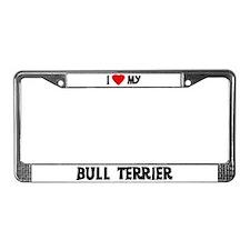 I Love My Bull Terrier License Plate Frame