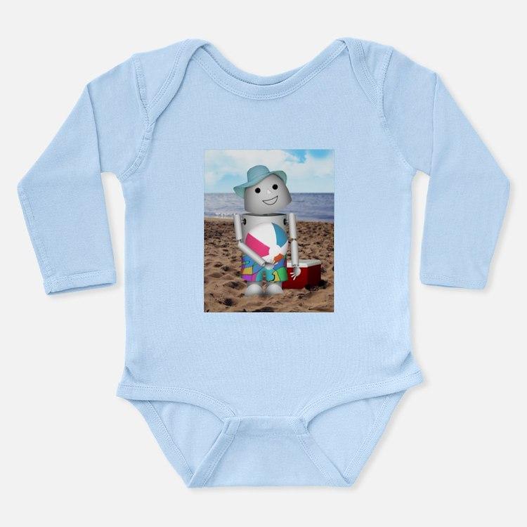 Robox9 at the Beach Long Sleeve Infant Bodysuit