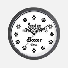 Boxer Time Paw Numbers Wall Clock