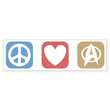 Peace Love Star Trek Bumper Sticker