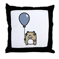 Bear With Blue Balloon Throw Pillow