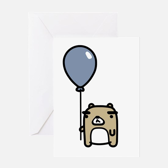 Bear With Blue Balloon Greeting Card