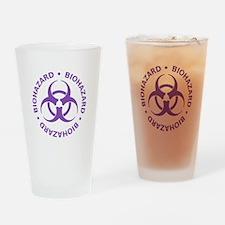 Purple Biohazard Warning Drinking Glass