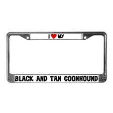 I Love My Black and Tan Coonh License Plate Frame