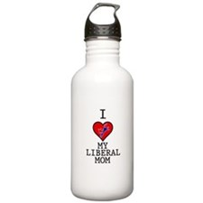 I Love My Liberal Mom Water Bottle