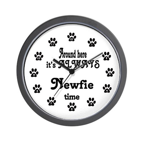 Newfie Time Paw Numbers Wall Clock