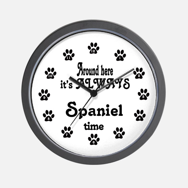 Spaniel Time Paw Numbers Wall Clock