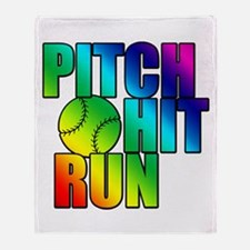 Girls Softball Throw Blanket