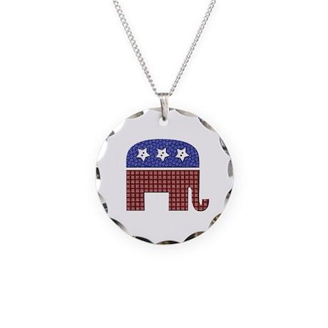 Patchwork Elephant Necklace Circle Charm
