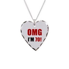 OMG 70th Birthday Necklace Heart Charm