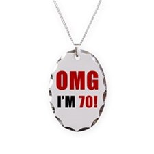 OMG 70th Birthday Necklace Oval Charm