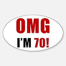 OMG 70th Birthday Sticker (Oval)