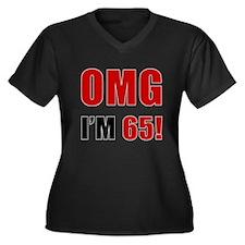 OMG 65th Birthday Women's Plus Size V-Neck Dark T-