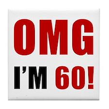 OMG 60th Birthday Tile Coaster