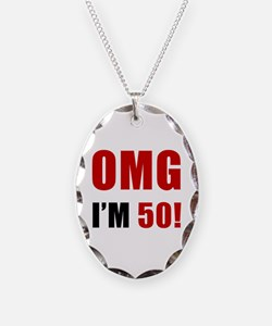 OMG 50th Birthday Necklace Oval Charm